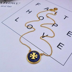 Tory Burch Blue Natural Steel Stone Matte Necklace
